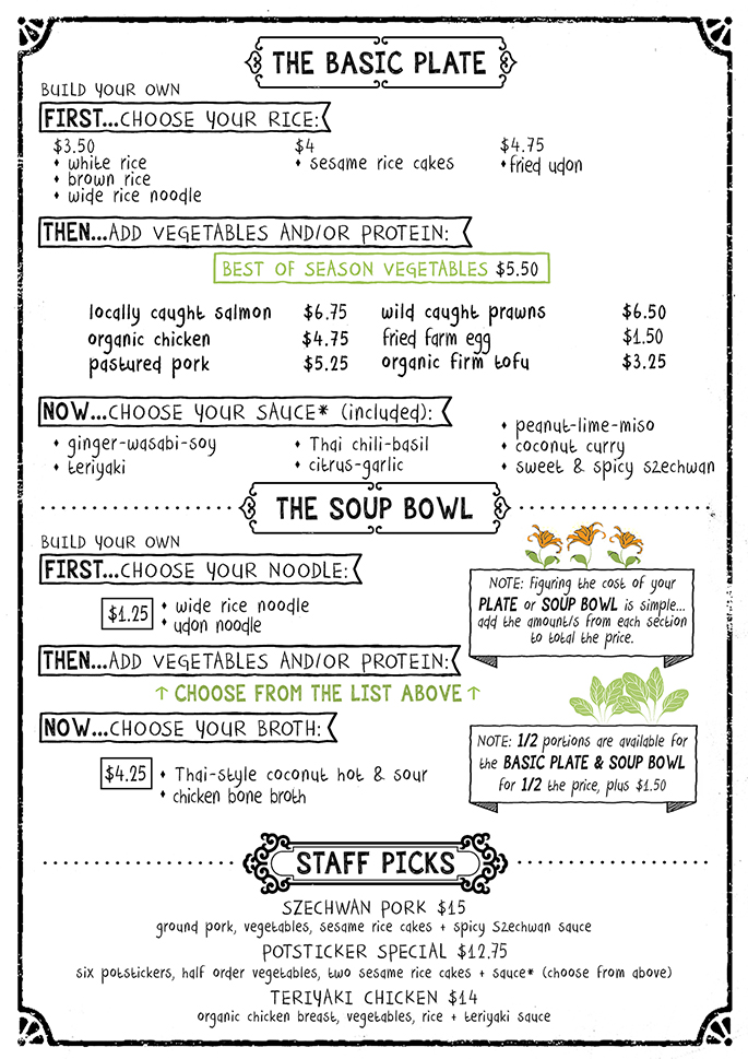 the kitchen's cafe menu - basic plate, soup bowl, staff picks